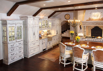 Beveled glass hutch cabinet and arch top wall cabinet